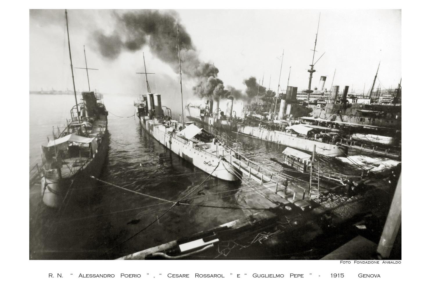 Poerio Class Vessels – Allesandro Poerio – Cesare Rossarol and Guglielmo Pepe at the Ansaldo yard.